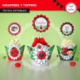 Ladybug rojo: wrappers y toppers para cupcakes