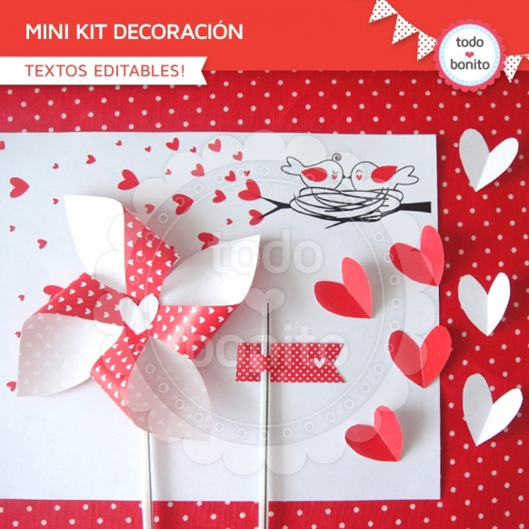Corazones y pajaritos: kit imprimible decoración de fiesta