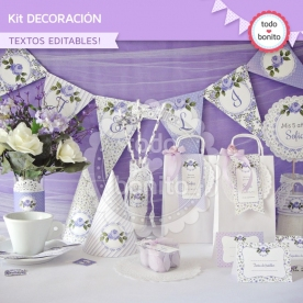Shabby Chic Lila: kit imprimible decoración de fiesta