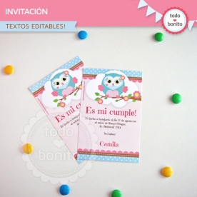 Búhos rosa: invitación imprimible y digital