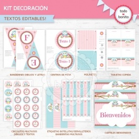 Búhos niña: kit imprimible decoración de fiesta