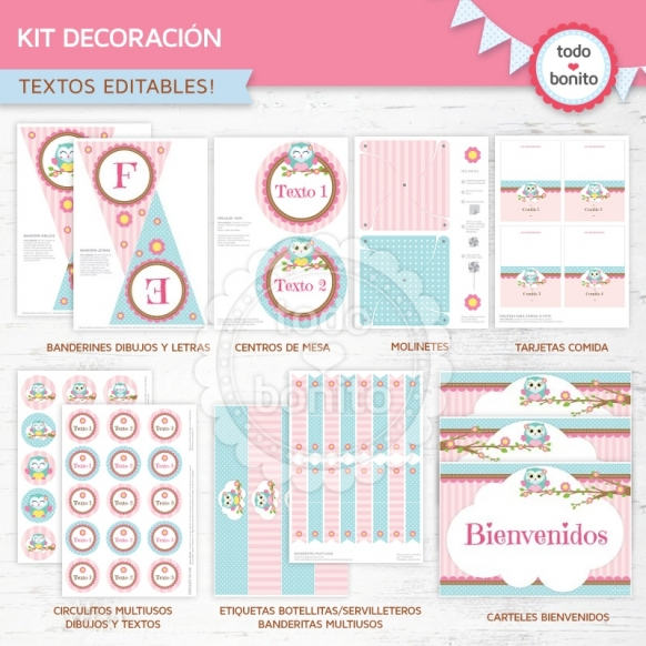 Búhos rosa: kit imprimible decoración de fiesta