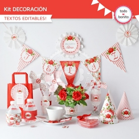 Shabby Chic Rojo: kit imprimible decoración de fiesta