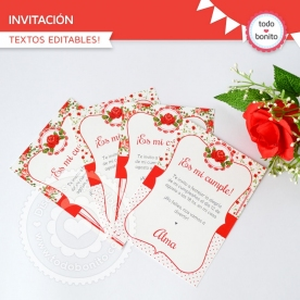 Shabby Chic Rojo: invitación imprimible y digital