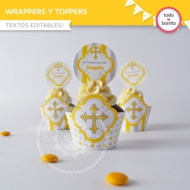 Cruz gris y amarillo: wrappers y toppers