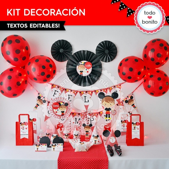 Orejas Mickey Rojo: kit imprimible decoración de fiesta
