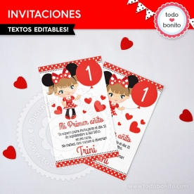 Orejas Minnie Rojo: invitación imprimible y digital