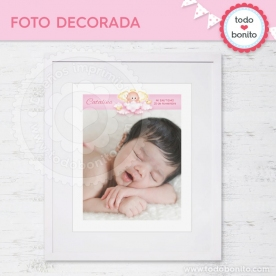 Angelito bebé rosa: foto decorada