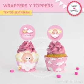 Angelito bebé rosa: wrappers y toppers