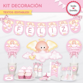 Angelito bebé rosa: kit imprimible decoración de fiesta