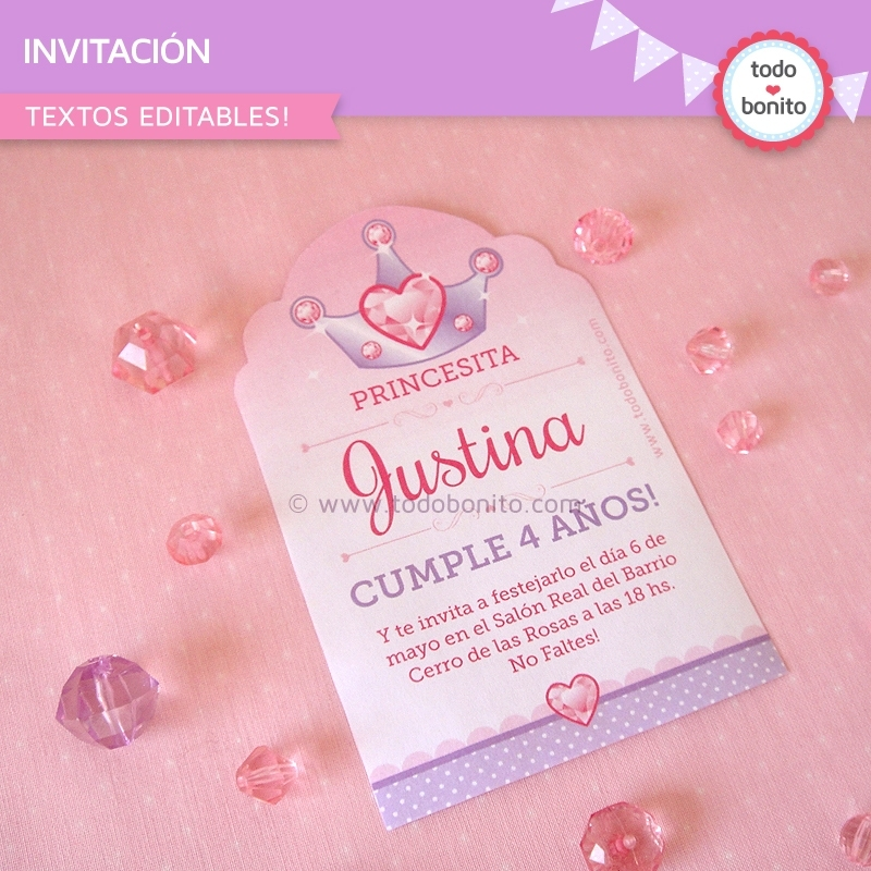 Princesa Invitación Imprimible Y Digital Todo Bonito