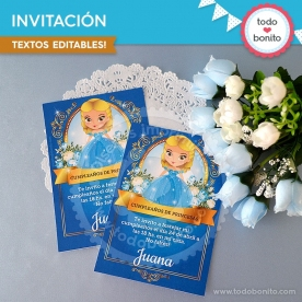 Cenicienta: invitación imprimible y digital