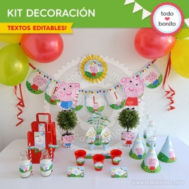 Cerdita: kit imprimible decoración de fiesta
