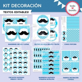 Bigotes: kit imprimible decoración de fiesta