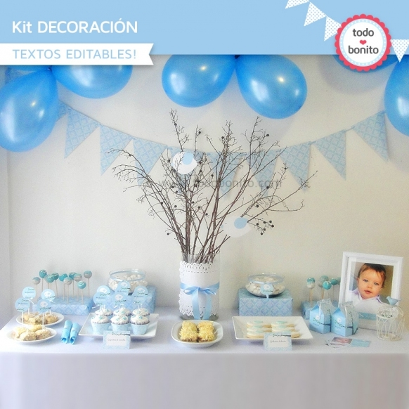 Pajarito celeste: kit imprimible decoración de fiesta