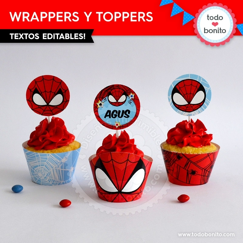 hombre araa wrappers y toppers para cupcakes