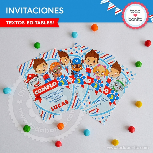 Paw Patrol: invitación imprimible y digital