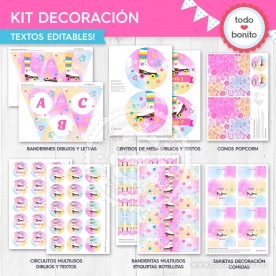 Patines: kit imprimible decoración de fiesta