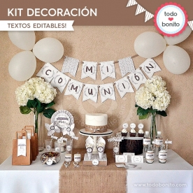 Rústico: kit imprimible decoración de fiesta