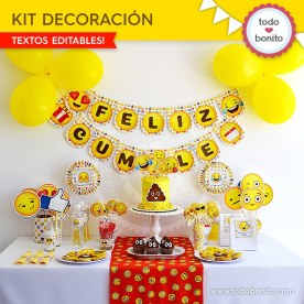 Emojis: kit imprimible decoración de fiesta