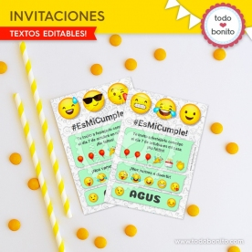 Emojis: invitación imprimible y digital
