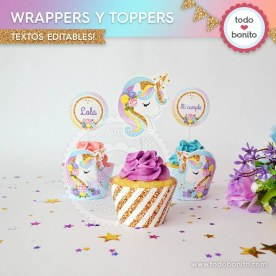Unicornio: wrappers y toppers