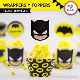 Batman: wrappers y toppers para cupcakes