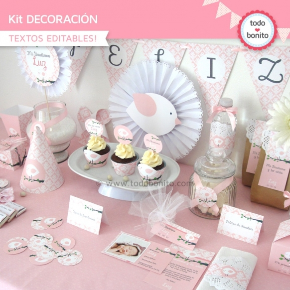 Pajarito rosa: kit imprimible decoración de fiesta