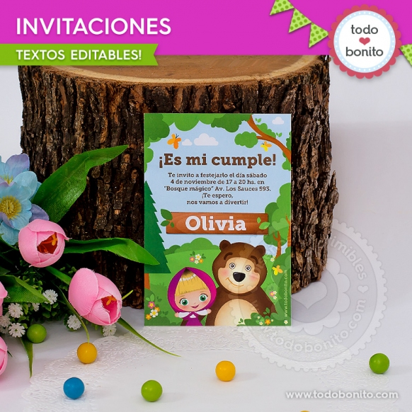 Masha y el Oso: invitación imprimible y digital