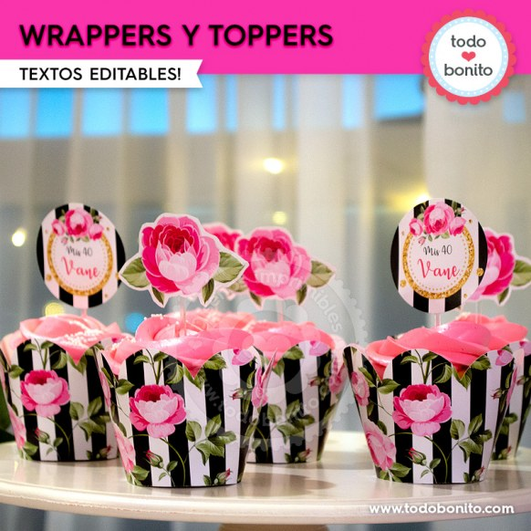 Rayas y flores fucsia: wrappers y toppers