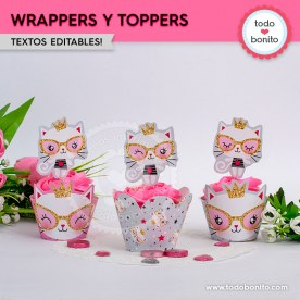 Gatita princesa cool: wrappers y toppers