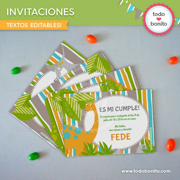 Dinosaurios: invitación imprimible y digital