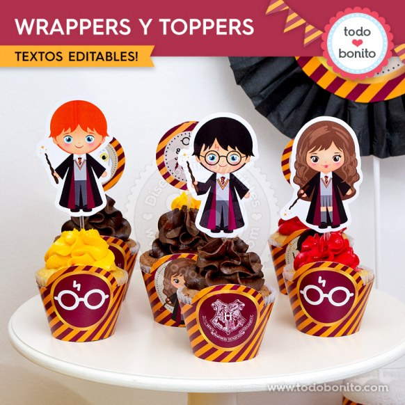 Harry Potter: wrappers y toppers para cupcakes