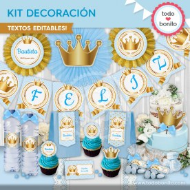 Coronita celeste: kit imprimible decoración de fiesta