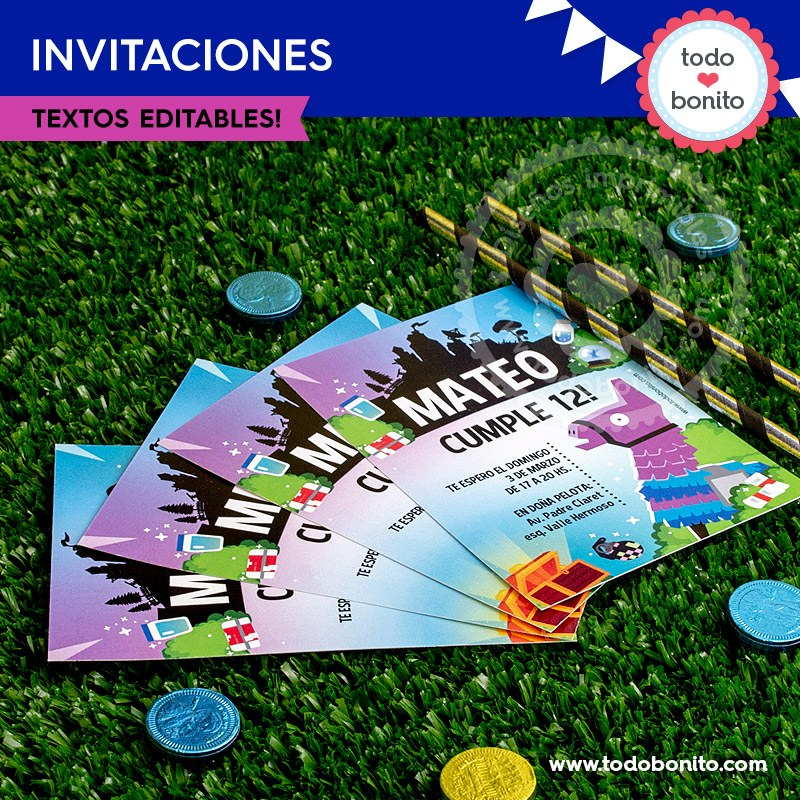 Fortnite Invitación Imprimible Y Digital Todo Bonito