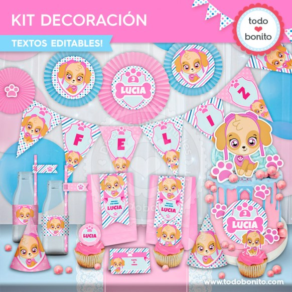 Skye Paw Patrol: kit imprimible decoración de fiesta