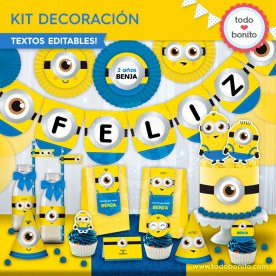 Minions: kit imprimible decoración de fiesta