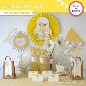 Shabby Chic Amarillo: kit imprimible decoración de fiesta