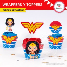 Mujer Maravilla: wrappers y toppers para cupcakes