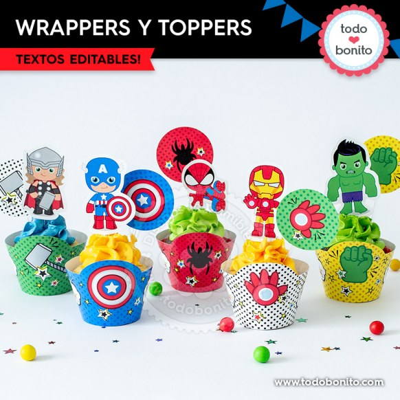 Avengers: wrappers y toppers para cupcakes