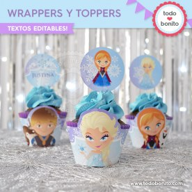 Frozen 1: wrappers y toppers para cupcakes