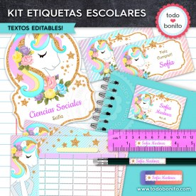 Unicornio: Kit imprimible etiquetas escolares