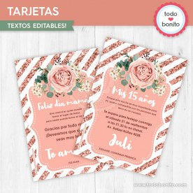Rose Gold: tarjeta imprimible y digital