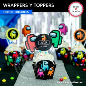Among Us: wrappers y toppers cupcakes