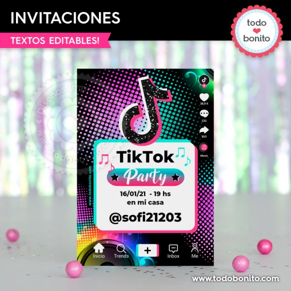 TikTok: invitación imprimible y digital