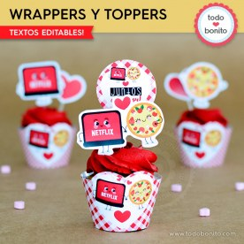 Netflix y Pizza: wrappers y toppers cupcakes