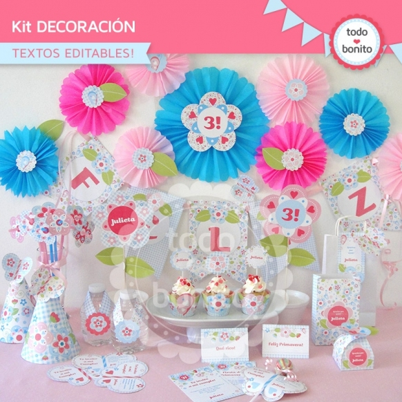 Flores y mariposas: kit imprimible decoración de fiesta