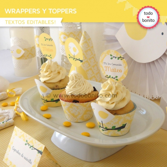 Pajarito amarillo: wrappers y toppers